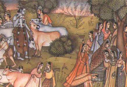 Krishna, gopis and cows