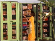 Jaya Devi at the library