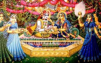 Bhojan lila on Yamuna / Vrindavan Art