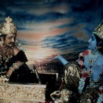 Krsna is instructing Arjuna on the battlefield