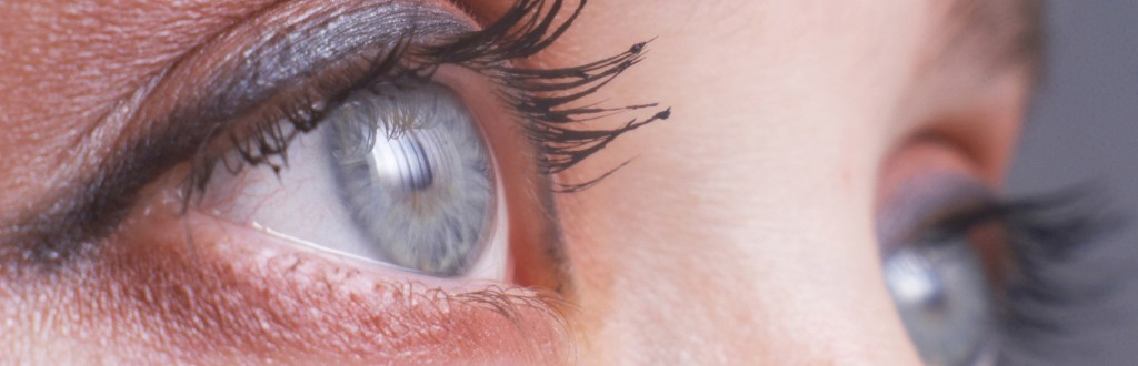 An image of expressive blue woman's eyes_pan
