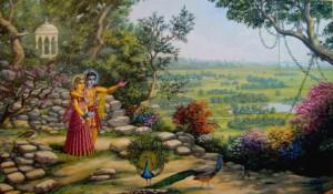 Radha and Krishna on Govardhan Hill / Vrindavan Art