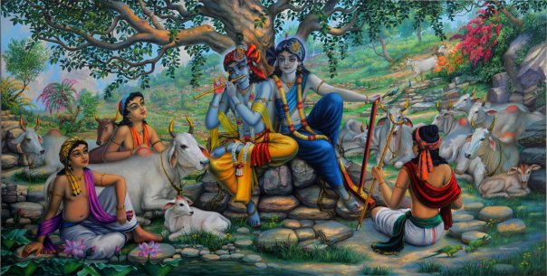 Krishna and Balaram on top of Govardhan Hill / Vrindavan Art