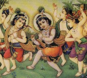 Krishna, Balarama and gopas