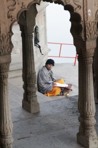 devotee studying
