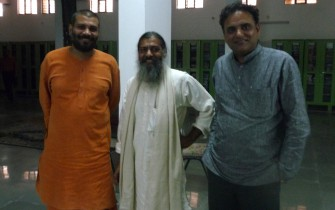 Swami Vijnanananda, Satyanarayana Dasa and Dr. Partap Chauhan at the meeting on Oct. 23rd