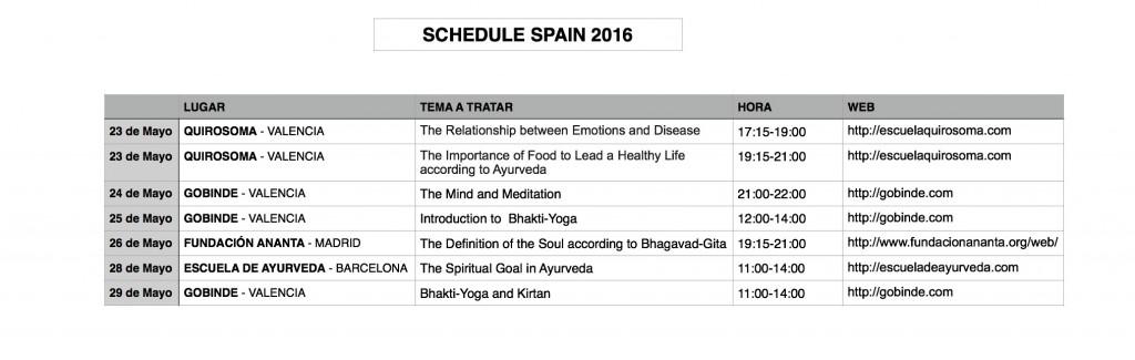 Spain 2016 Schedule