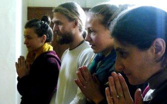 Devotees praying