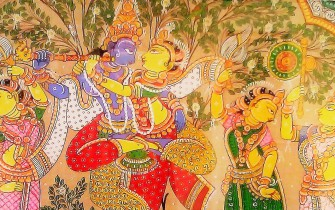 Krsna and Gopis rajastani Style Vrindavan Research Institute