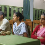 Manju (r.) with daughter Krsna-priya and husband