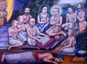 Sri Caitanya hearing the Bhagavat from  Gadadhara Pandit